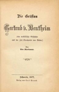 Regionale Geschichte - Udo Markanus (1877): Die Gräfinn Gertrud von Bentheim