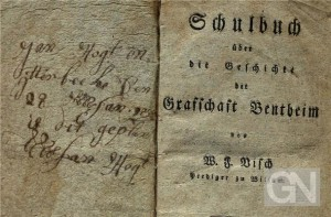 Grafschafter Schulbuch aus dem Jahr 1821